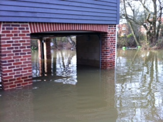 House built on stilts for flooding